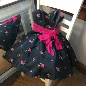 Betsey Johnson Evening Pink Black Party Dress NWOT